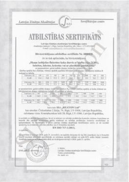 Kvalitātes sertifikāts 31301