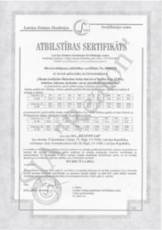 Kvalitātes sertifikāts 21301