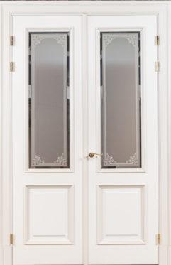Wooden doors in panelled walls